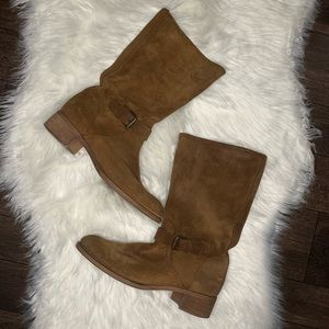 J. Crew Ryder pull on buckle suede mid calf boots